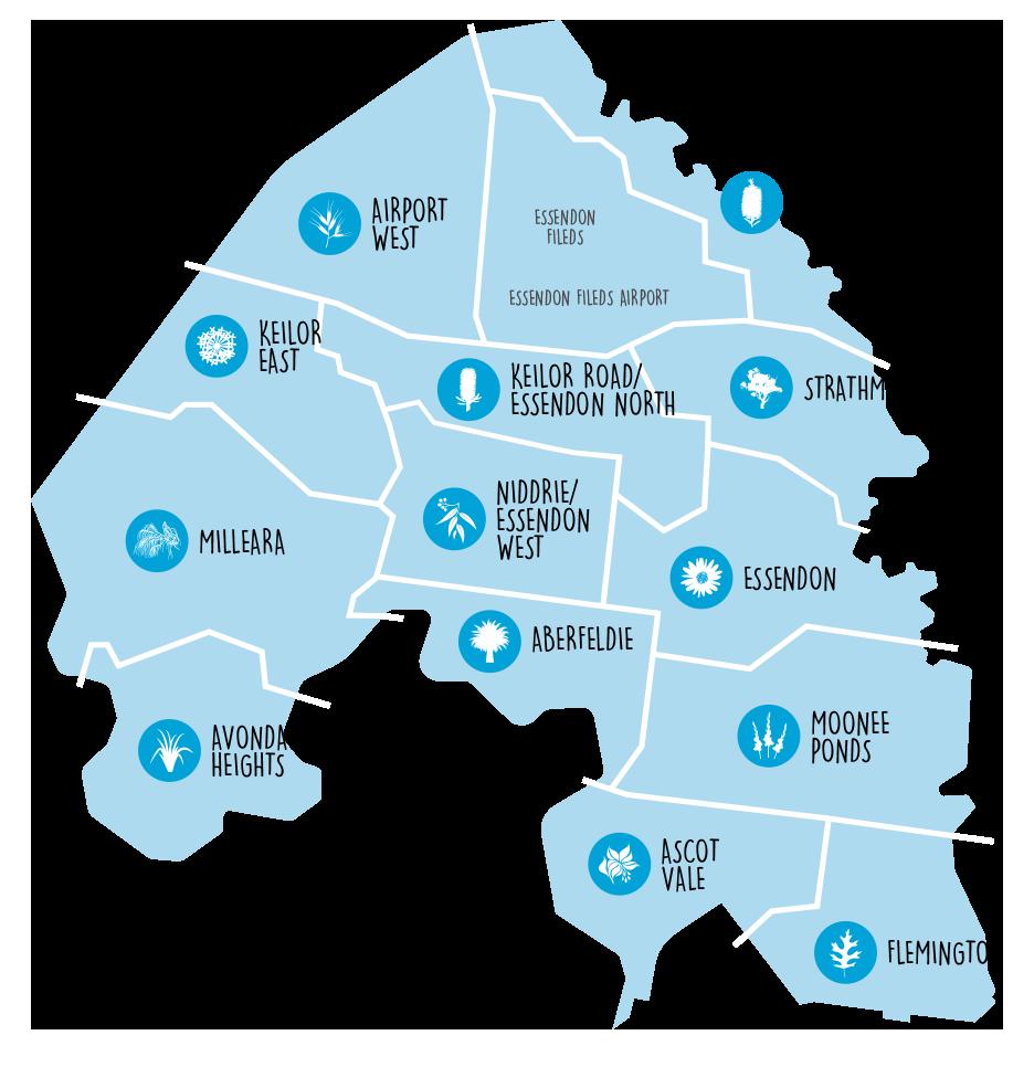 Map of the Moonee Valley City Council neighbourhoods